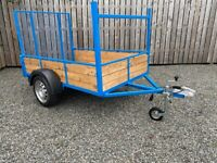 NEWLY BUILT 7 X 4FT 4 CAR TRAILER with Long Tail door ( tractor quad garden lawnmower ride on )