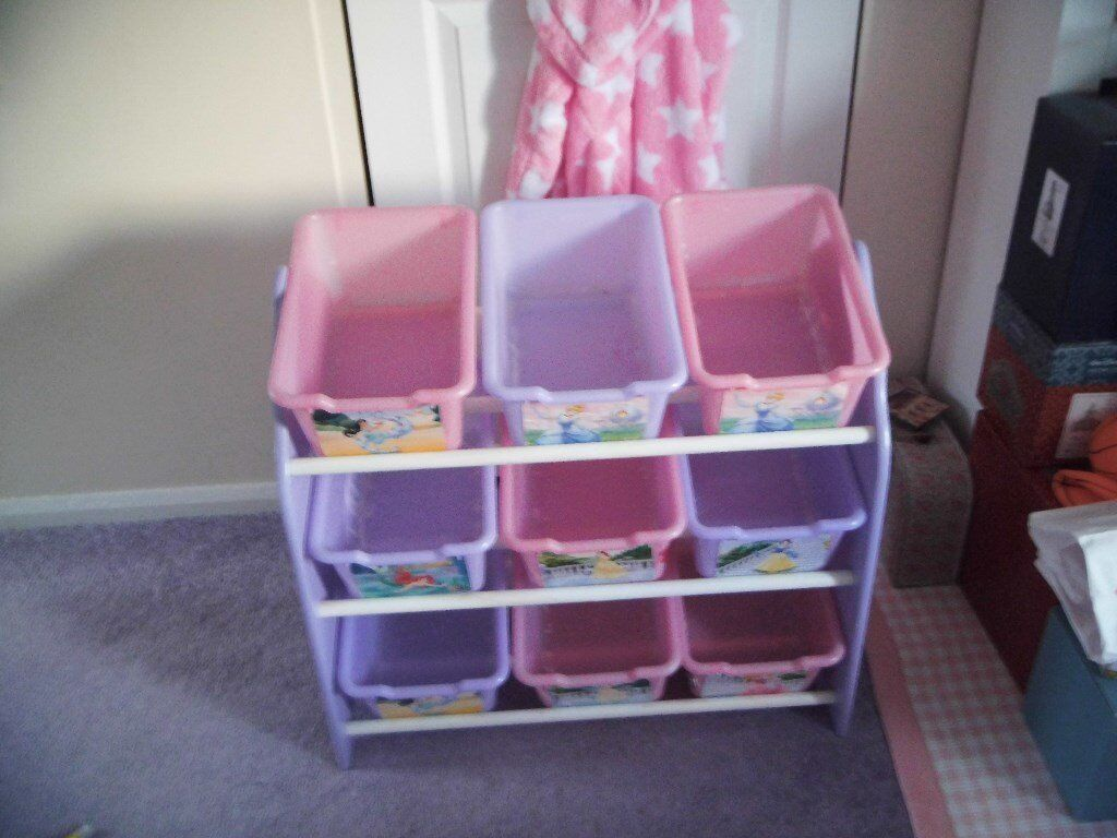 Lovely condition Disney Princess designed 2 wooden toy storage units priced for quick sale at £25