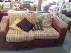 Two Seater Brown and Checker-ed Sofa GT 562