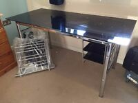 Black glass desk, used, minor scratches
