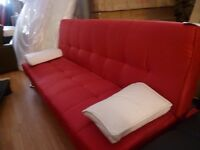 Red Fabric Sofa Bed with White Faux Leather Contrast Cushions Bargain Price