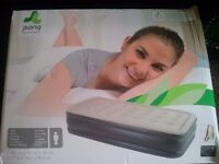wide SINGLE raised 18.5 inch airbed, with built in automatic pump - inflates in 2mins! NEVER USED!