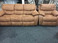 New Ex Display - LazyBoy Tan 3 Seater Sofa + 1 Seater Rocker Recliner Chair