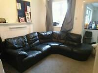 5 seater black leather corner sofa