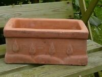 Vintage Terracotta Herb Trough Small Planter Tuscan Tree Detail