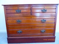 ANTIQUE LATE VICTORIAN / EDWARDIAN WALNUT CHEST OF DRAWERS