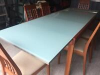 Italian Glass Top Dining Table & 6 Chairs