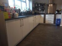 Used white gloss kitchen, some appliances, Apollo Quartz Tungsten worktops