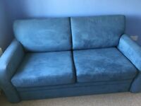 Blue Suede Double Sofa Bed