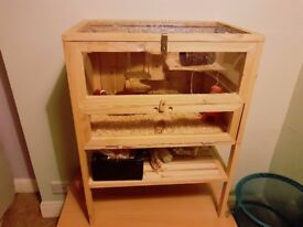 Large wooden hamster rodent cage villa hut mouse ferret rats pet small animal