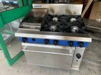 GAS COOKER +FLAT GRILL+UNDER OVEN CATERING COMMERCIAL KITCHEN FAST FOOD TAKE AWAY SHOP