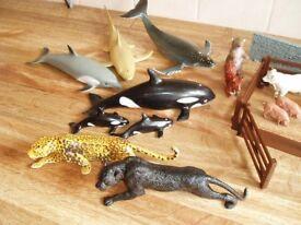 Toy animals - zoo, farm and marine