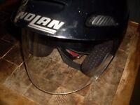 Helmet nolan open faced size med / large with flip up visor and peak