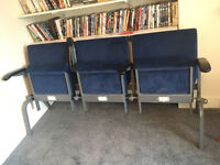 Reclaimed Vintage Cinema Seats Cast Iron With Royal Blue Upholstery
