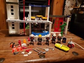 Playmobil fire station plus extras - fire engine and fire car plus boat