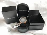 Emporio Armani Black and Gold Mens Chronograph Watch AR5905