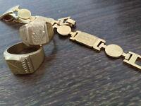 2 gold signet-ring and bracelet 18k