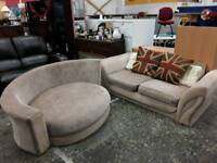 Two Seat Sofa With Tub Chair - Sold As Set Delivery Available