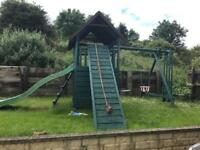 Solid wood commercial play area swing set slide cargo net cost £3000