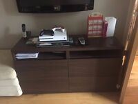 IKEA dark brown TV/sideboard unit with 4 drawers, 2 built in shelves