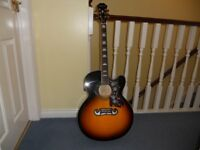 Epiphone J200 SCE Electric-Acoustic Guitar like new.