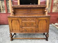 Antique Oak Sideboard 1930's Wall Unit Buffet Sideboard Dresser - Delivery Available