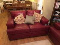 2 & 3 seater red leather sprung interior settees & pouffe