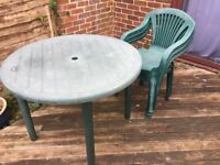 FREE Green plastic garden table and 3 chairs