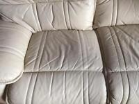 Cream 100% leather electric recliner and 3 seater sofa