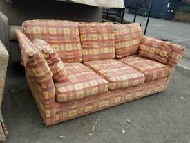 Large patterned fabric 3 seater sofa bed