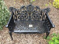 3. Rose and leaf heavy cast iron garden bench (Patio 2 seater)