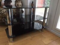 TV unit black glass shelves