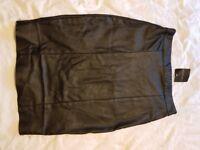 Topshop black faux leather skirt 8