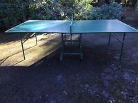 Folding table tennis table on wheels