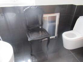 4x Black shabby chic wood chairs (x4)