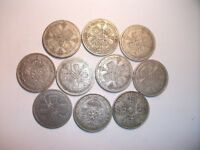 10 x SILVER British Florin Coins - Selling as Job Lot. All Pre 1947. See Photo's For Condition