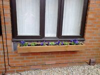 NEW WOODEN TREATED WINDOW BOX PLANTERS, GARDEN FLOWER PLANTERS , POT BOX PLANTS. thick 125x32 wood