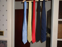 5 TIES, LIGHT BLUE, YELLOW, RED, BLACK and NAVY BLUE, HARDLY WORN, £1 EACH, or ALL 5 FOR £3