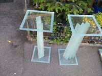 Two Glass Display Stands