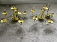 2 x brass plated chandeliers with bulbs used