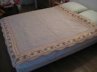 French boutis quilted bed throw blanket 150x150 cm