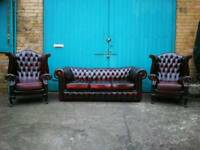 Antique vintage Burgundy leather chesterfield 3 piece suite sofa wing armchairs
