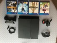 PS4 500Gb, 1 controller, 4 games, all leads