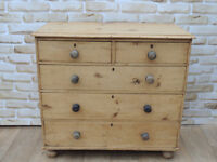 Large Victorian Rustic Pine Wooden Chest of Drawers (Delivery)
