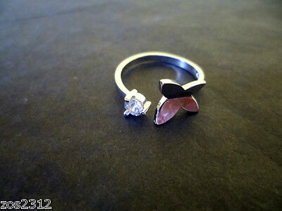 925 Sterling Silver Plated Crystal Butterfly Finger Midi Toe Ring Free P&P New (Crystal Butterfly Toe Ring)