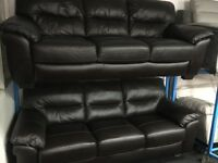 ScS NEW/Ex Display Brown Leather 3 Seater Sofa + 3 Seater Sofa
