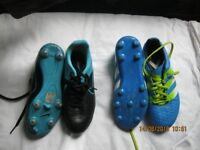 kids trainers, football boots and leather boots £3 pr all size 2 except white pr size 3