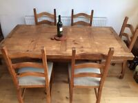 Mexican rustic wood dining room table with 6 chairs