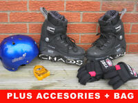 Inline Skates size 6 and all accessories helmet pads, padded shirt gloves bag