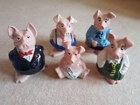 Full Set of 5 Wade Natwest Piggies Piggy Banks Original 1980s Collectable